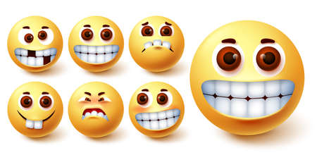 Emoji smileys vector set. Emojis smiley yellow avatar face with funny, crazy, happy, weird and blush mood and facial expression for icon social media design element. Vector illustration