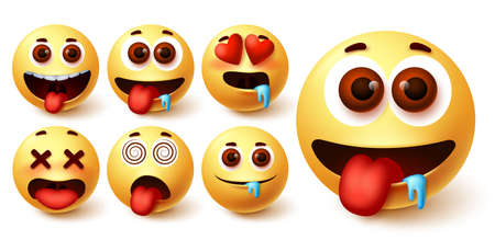 Emojis smiley emoticon vector set. Emoji avatar character face in hungry, silly, in love, happy and dizzy feelings and emotion for sign and symbol design element. Vector illustration 向量圖像
