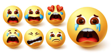 Smiley emoji in tears vector set. Smileys yellow face in crying, sad, broken hearted and pain facial expression for dramatic emoticon collection design. Vector illustration