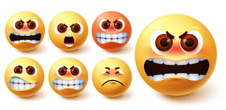 Smileys angry emoji vector set. Emoji smileys in yellow face with different facial expression like mad, irritated, pissed off, up set and frustrated for social media emoticon character design. Vector illustration