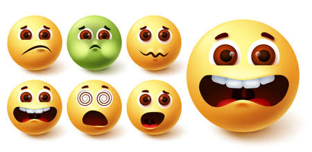 Emoji smiley vector set. Smileys yellow emoji face in different weird facial expressions like mad, vomit, scary, dizzy and surprise for avatar character collection design. Vector illustration 向量圖像