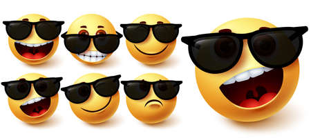 Smiley in sunglasses vector set. Smileys emoji character wearing glasses with different facial expression like cute, naughty, crazy and cool for social media summer character design. Vector illustration 向量圖像