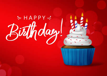 Birthday cupcake vector background banner design. Happy birthday typography in red empty space for messages with sweet cupcake and candle light element for birthday party greeting card. Vector