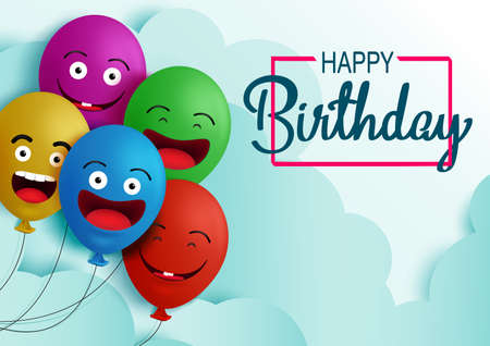 Happy birthday balloon vector background banner. Happy birthday text in empty space for messages and party colorful balloons element for kids birthday celebration greeting card. Vector illustration 向量圖像