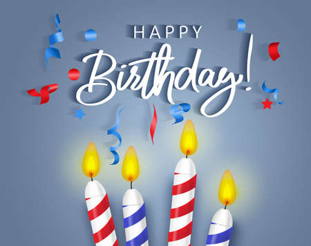 Birthday candles vector background banner design. Happy birthday typography greeting text with colorful candle light and confetti elements for party celebration invitation card. Vector illustration