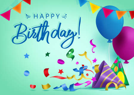 Happy birthday vector background banner design. Happy birthday greeting text for kids party celebration with colorful elements like balloon, hat, pennant and confetti. Vector illustration