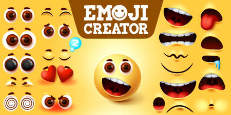 Emojis smiley creator happy vector set. Emoji maker character kit with editable facial expressions, feelings and emotion for sign and symbol design element. Vector illustration 向量圖像