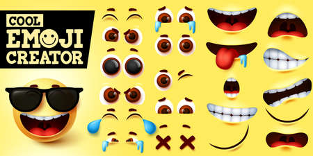 Cool emoji smiley creator vector set. Smiley emojis maker in cool happy face with sunglasses and editable facial expression for emoticon design element. Vector illustration 向量圖像