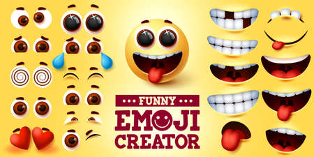 Funny emoji smiley vector creator set. Smiley emojis kit in funny faces with editable facial expression for emoticon sign and symbol design element. Vector illustration