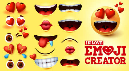 Emoji smiley in love vector creator set. Smiley emojis kit with hearts and in love face with editable facial expression for emoticon design and symbol element. Vector illustration 向量圖像