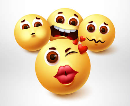 Smiley emoji lovely character vector design. Emojis smiley of suitors emoticon in pouty lips with suitor in love element in white background. Vector illustration.