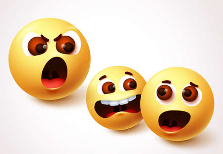 Emoji smileys angry boss vector character design. Smiley emoji of parent shouting and child arguments. Vector illustration.