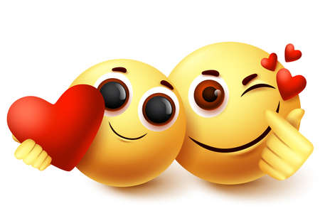 Emoji smiley love couple character vector design. Smiley emojis and emoticon in love facial expression for valentines day isolated in white background. Vector illustration.