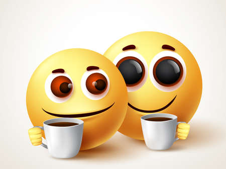Smiley emoji sweet couple drinking coffee vector characters. Emoji smiley relaxing and drinking coffee or tea with sweet smile and gesture. Vector illustration. 向量圖像