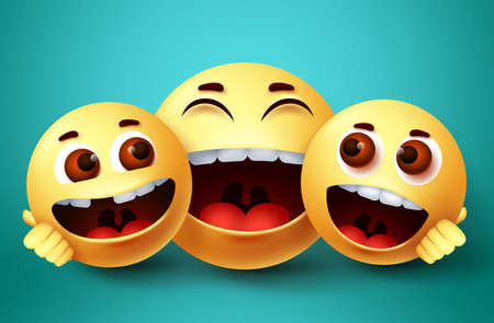 Smiley emoji happy family characters vector design. Emoji smiley of parent and kids happy bonding with hugs and loving gesture in green background. Vector illustration. 向量圖像