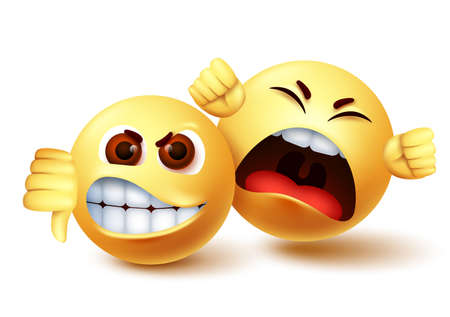 Smiley emoji angry characters vector design. Emoji smiley of mad and shouting disagreement with thumbs down hand gesture. Vector illustration.
