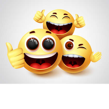 Smiley emoji friends character vector design. Emojis smiley of friendship emoticon in happy smiling and funny facial expression in white background. Vector illustration.