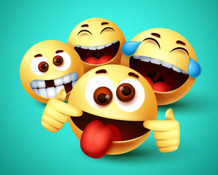 Emoji smiley funny friends taking selfie vector characters. Smiley emoji of friendship emoticon in happy smiling, silly, funny and crazy facial expression in green background. Vector illustration. 向量圖像