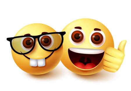 Smiley emoji of nerd friend vector character design. Clever weird emoji with presence of friend with happy facial expressions and thumbs up hand gesture. Vector illustration.