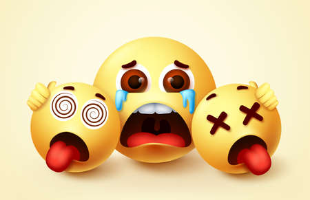 Smiley emoji hopeless crying character vector design. Emoji smiley of parent and children emoticon in sad, tears, hungry and tired facial expression. Vector illustration. 向量圖像