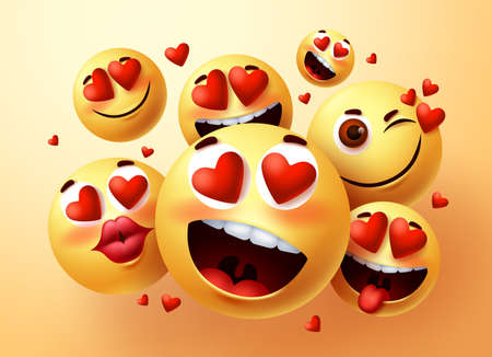 Emoji smiley in love vector creator set. Smiley emojis with hearts and in love face with different facial expression for emoticon design and symbol element. Vector illustration 向量圖像