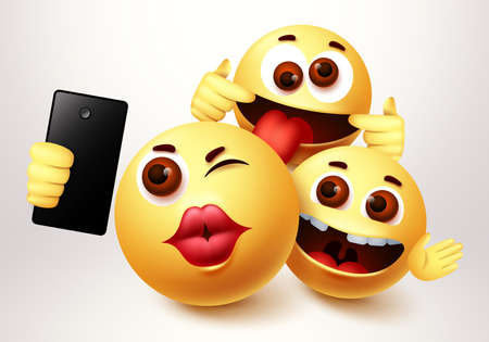 Emoji smiley selfie friends taking groupie vector characters. Smiley emoji of friendship emoticon in happy smiling, funny and kissing facial expression in white background. Vector illustration. 向量圖像