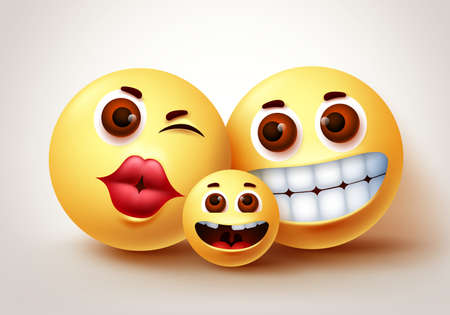 Smiley emoji happy family characters vector design. Emoji smiley of parent and kid happy bonding at home with loving and sweet gesture in white background. Vector illustration.