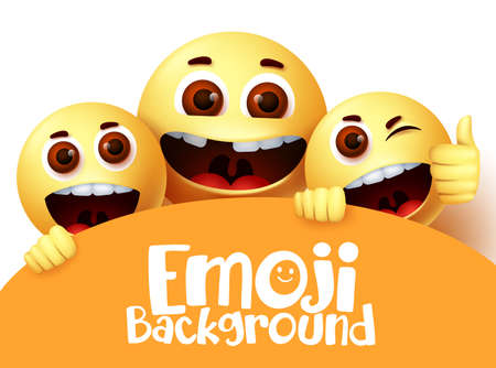 Emoji smiley vector text background design. Emoticon emojis characters in happy and fun facial expression with space for text in white background. Vector illustration
