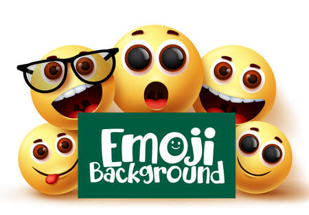 Emoji smileys vector background. Emojis emoticons in happy and funny facial expressions with green space for text in white background. Vector illustration