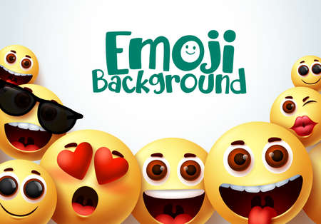 Emoji smiley vector background design. Smiley emoji background of funny and happy facial expressions in white space for text. Vector illustration.