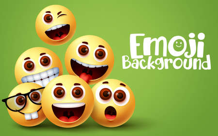 Emoji smile funny background vector design.  Smiley emoji of happy and fun facial expressions with green space for text and funny yellow emoticons. Vector illustration. 向量圖像