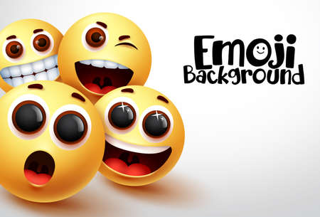 Happy emoji vector background. Smiley emoji and yellow emoticons of funny and happy facial expressions in white space background for text. Vector illustration.