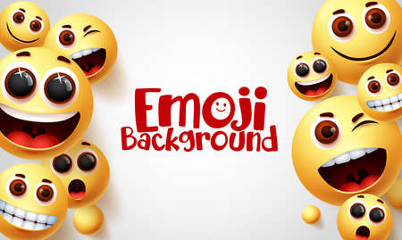 Emoji vector background design. Smiley emoji and smile faces emoticons with happy and funny facial expressions in white space background for text. Vector illustration.