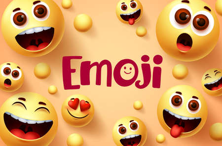 Emoji smileys vector banner design. Smiley emoji collection of funny and happy facial expressions in yellow background. Vector illustration. 向量圖像