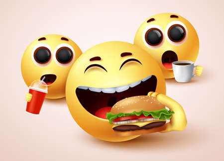 Smiley emoji eating fastfood burger vector character design. Smiley emoticon with happy facial expressions while eating yummy snacks like hamburger and drinking juice and coffee. Vector illustration