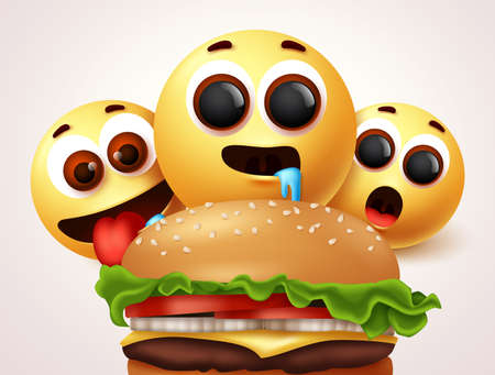 Smiley emojis hungry of burger character vector design. Emoji smileys of starving and hungry facial expressions for delicious and yummy hamburger. Vector illustration 向量圖像