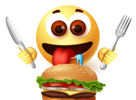 Emoji smiley eating hamburger character vector design. Smiley emoji starving emoticon while holding knife and fork excited to eat yummy burger. Vector illustration