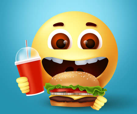 Emoji smiley happy eating fastfood burger character vector design. Smiley emoticon with happy and excited facial expression holding yummy hamburger and juice for snack. Vector illustration