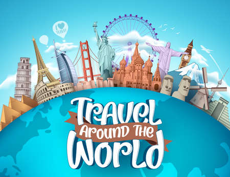 Travel around the world vector tourism design. Travel the world text, famous tourism landmarks and world attractions elements for holiday vacation trip. Vector illustration. Vettoriali