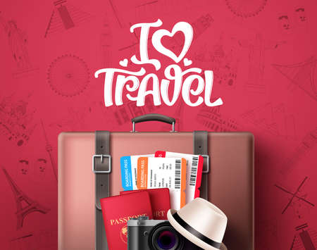I love travel text vector banner design. Travel and tourism concept with world famous landmarks and destination, travelling suitcase bag, passport and text in red pattern background. Vector