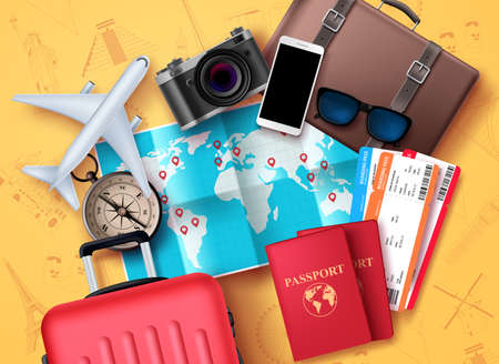 Travel and tour vector design. Travel and tourism elements with world map for location and destination, compass, passport, tickets, camera and luggage bag elements for adventure vacation. Vector illus Ilustração