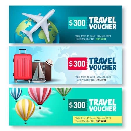 Travel voucher template vector set. Travel and tour gift voucher collection promo with travel elements and travel text for promotions. Vector illustration.