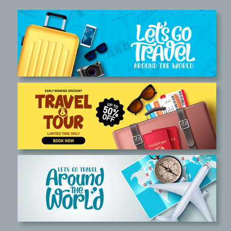Travel banner set vector background template. Travel and tour banner collection with travel elements and tourist destinations and typography for promotions. Vector illustration.