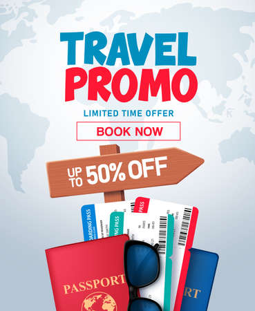 Travel promo vector banner design. Travel promo offer in world map space for text with travel and tour elements like passport and tickets for online ticket booking. Vector illustration. 矢量图像