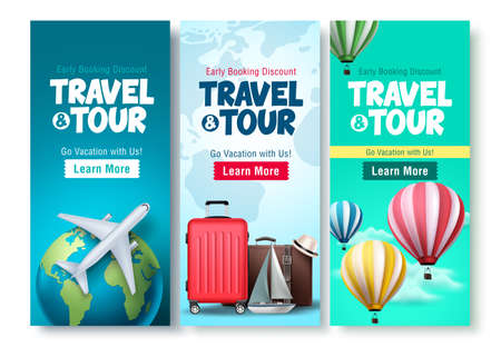 Travel and tour poster set vector background design. Travel and tour early booking discount with traveling elements for tourism online promotional purposes. Vector illustration.