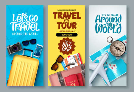 Travel poster set vector background. Travel and tour with promo text and traveling elements for tourism promotional design. Vector illustration. 矢量图像