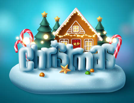 Christmas 3d text vector concept design. Merry christmas typography in island village miniature or giant xmas decoration for holiday season with realistic elements. Vector illustration