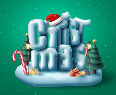 Christmas 3d text vector concept design. Christmas typography in snow island with miniature or giant realistic xmas elements for holiday winter season. Vector illustration