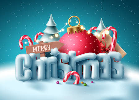 Christmas 3d text vector concept design. Merry christmas greeting typography with miniature decoration in snow winter background for xmas holiday season. Vector illustration 矢量图像