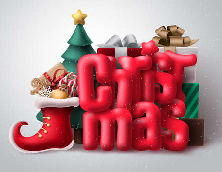 Christmas 3d text vector concept design. Christmas red typography with realistic xmas decoration like shoes, gifts and christmas tree in white snow background. Vector illustration